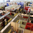 Pavilions of exhibition of fire technics at All-Russia Exhibition Centre with people — Stock Video