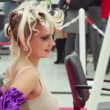 Model with fanciful hairdo at XVII International Festival World of Beauty 2010 — Stock Video