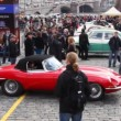 Stock Video: Opening rally season on classic cars, red car start