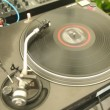 Player of vinyl records twists plate and music sounds — Stock Video