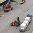 Forklift truck unload cargo from truck, time lapse — Stock Video