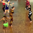 Stock Video: Few girls in different colorful suits at VIII World Dance Olympiad