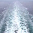 Foam left as ship go ahead, view from cruise liner stern — Stock Video