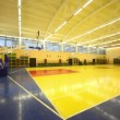 Inside lighted blue yellow school gym hall with basket — Stock Video