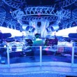 DJ in central control panel at night club — 图库视频影像
