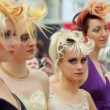 Five models with fanciful hairdo at XVII International Festival World of Beauty 2010 — Stock Video #29834131