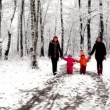Stock Video: Two girls with their kids walk closer in woods