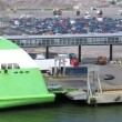 Stock Video: Cars unload from big ferry ship, time lapse