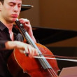 Narek Hakhnazaryan expressive plays cello in Museum of Musical Culture named Glinka — Stock Video