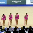 Stock Video: Girls finished their performance in rhythmic gymnastics