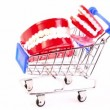 Stock Video: Toy jaws is in the shopping cart