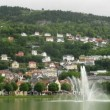 Stock Video: Fountain in park under mountain in Bergen