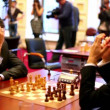 Two chess players play on Michael Tals Fifth chess memorial tournament — Stock Video