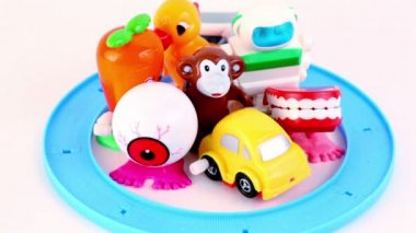 Toy transport rides on circle road many times — Stock Video