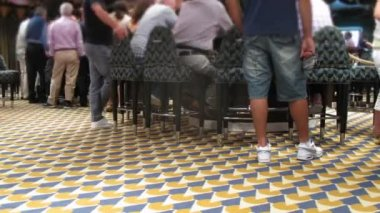 People playing blackjack at casino desk on board of cruise liner — Stock Video