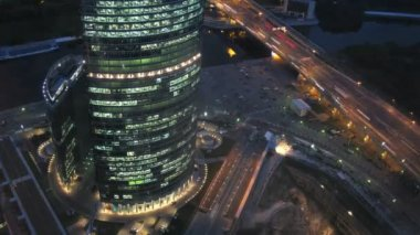 Naberezhnaya Tower or Quay Tower is an office complex — Stock Video