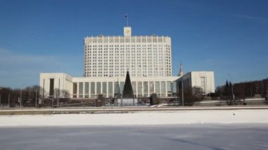 House of Russian Federation Government or White house in Moscow — Stock Video