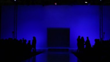 Lot of people are waiting for beginning of fashion show — Stock Video