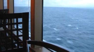 Restaurant with view on ocean on cruise liner — Stock Video