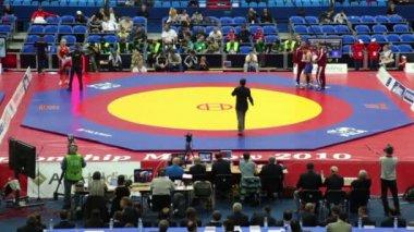 World championship on fight 2010, Johanss of Sweden vs. Sastin of Hungary — Stock Video