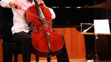 Narek Hakhnazaryan plays cello in Museum of Musical of Culture named Glinka — Stok video