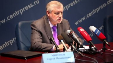 Meeting of Chairman of Federation Council S.M. Mironov with journalists — Stock Video