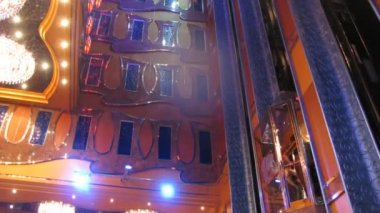 Elevators operate inside beautiful cruise liner — Stock Video