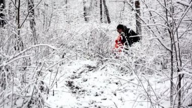 Mother walk with her kid in bush on woods where all covered with snow — Stock Video