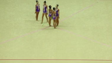 Gymnasts with ribbons from China begin their performance — Stock Video
