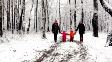 Two girls with their kids walk closer in woods — Stock Video