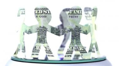 Paper dollars people stand in circle and hold hands — Stock Video