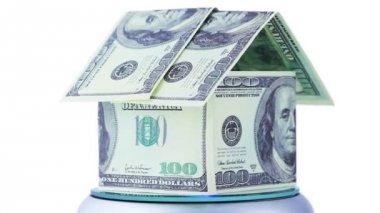 Casa fatta da banconote da un dollaro per filatura, essi con souvenir di iscrizione — Video Stock