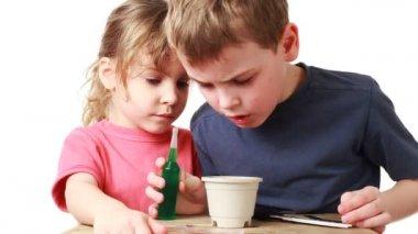 Pojken och flickan korrigerar utsäde växter i kruka med jord — Stockvideo