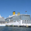 SEVEN SEAS VOYAGER and COSTA LUMINOSA liners at bay — Video