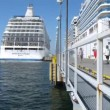 Two cruise liners stationed at bay — Stock Video