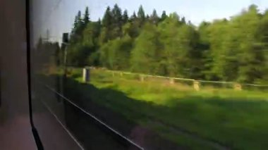Travel by fast train, view from window, time lapse — Stock Video