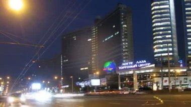 Cars go on prospectus, New Arbat — Stock Video