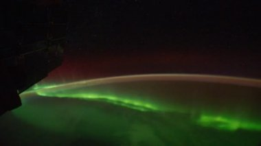 Polar lights from window of shuttle — Stock Video #29841045