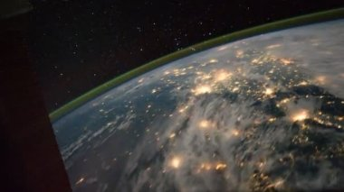 Planet Earth is visible of space at night — Stock Video