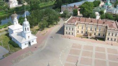 Old central square in Vologda, time lapse — Stock Video