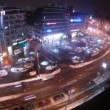 Stock Video: Cars goes on Mariahilfer Strasse in night