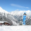 Skiers receive equipment in hire and then go on skis from mountain Gaislachalm — 图库视频影像 #30648011