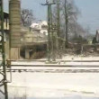 View from window of moving train from Vienna to Innsbruck — Stock Video