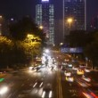 Cars go on night highway to Guangzhou Bridge — Stockvideo