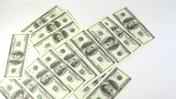 Cent dollar billets apparaissent et disparaissent de l'écran — Vidéo