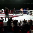 Two sportsmen fight on boxing ring at The Battle of Moscow 3 — Stock Video