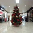 New Year tree stands in hall on on shopping center European — Stock Video #30655845