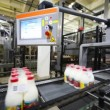 Packets to eight bottles of milk move belt conveyors, behind it robots for palletizing — Stock Video