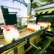 Stock Video: Packets bottles of milk go belt conveyor and automation pastes to back side sticker