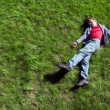 Little boy lay on grass plot and then rolls away — Stock Video